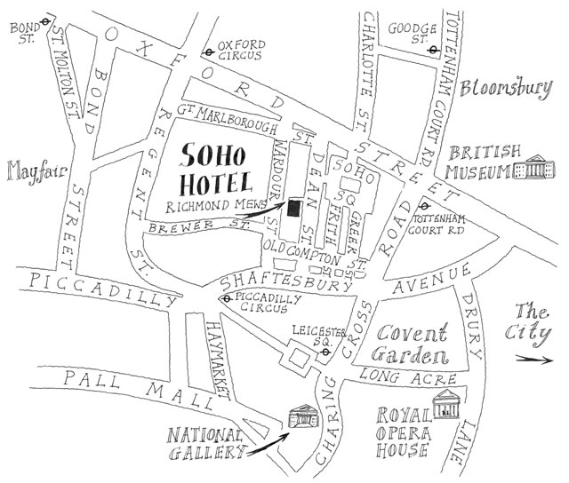 Map Soho London.Maps Illustrated Located In Greater London England Maps