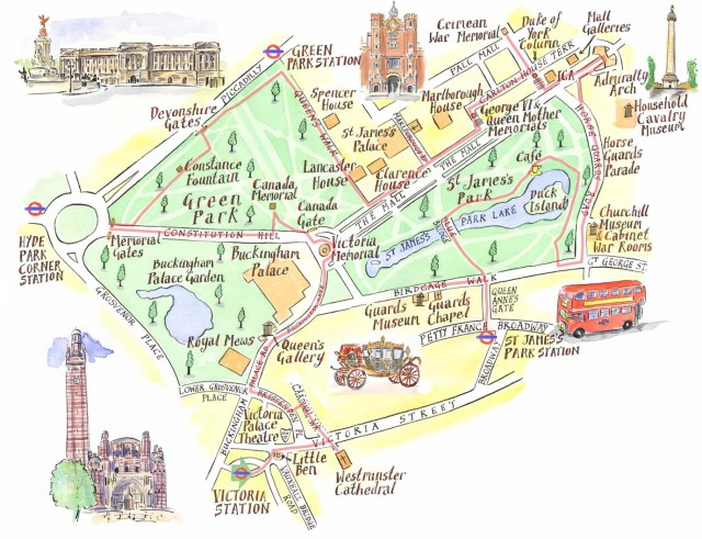 The Mall London Map.Maps Illustrated Located In Greater London England Maps