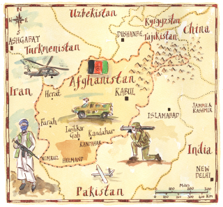 Afghanistan War Illustrated Map